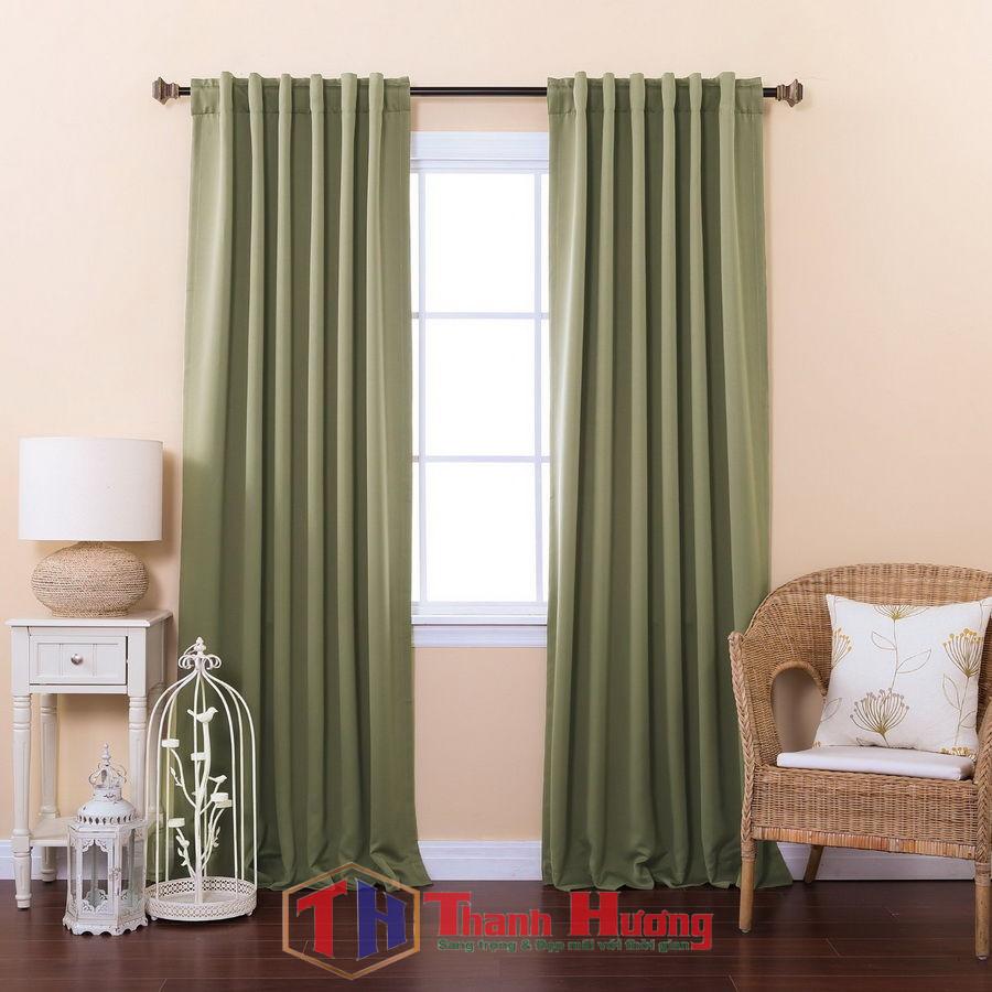 Mẫu rèm cửa được thiết kế đơn giản, sử dụng màu đơn sắc