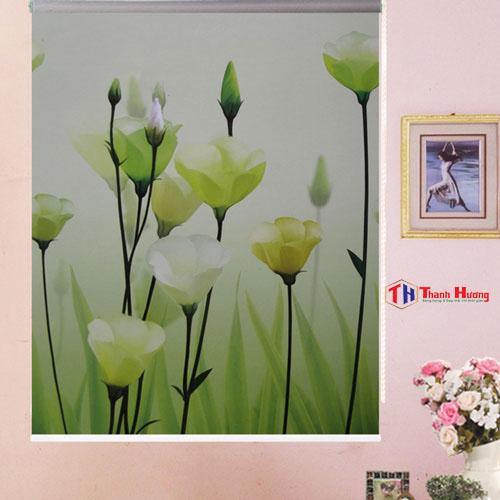 Rèm cuốn in tranh bông hoa